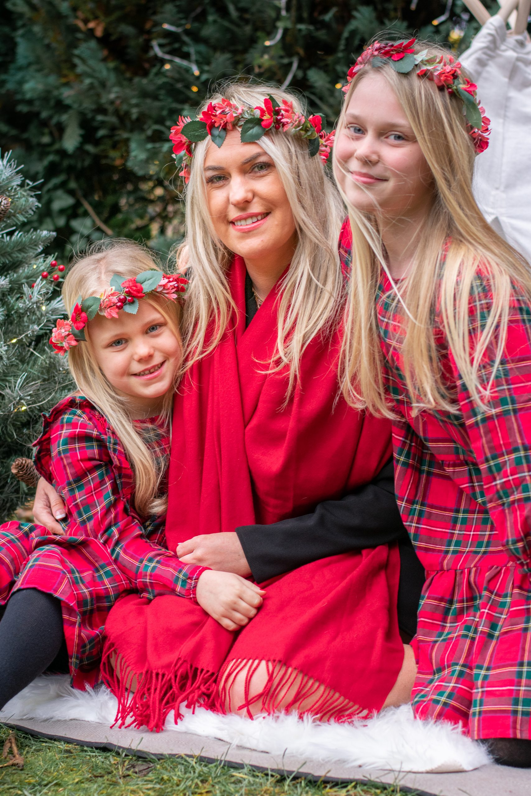 Christmas portrait of mum and her two daughters